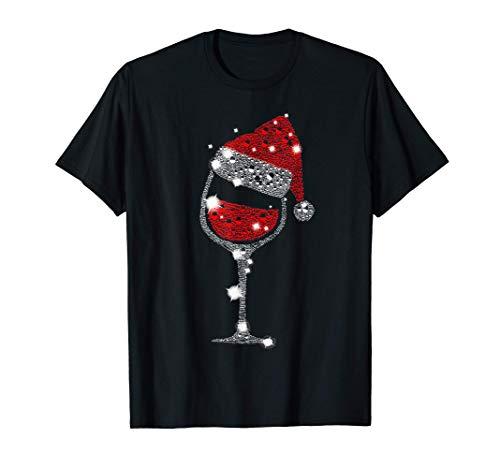 Camiseta de Navidad con copa de vino tinto Regalo de Navidad Camiseta