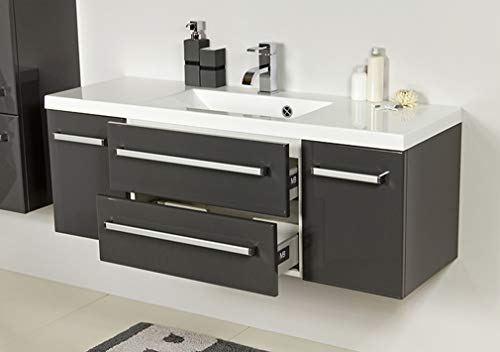 Quentis Waschplatzset Genua, Breite 120 cm, Waschbecken und Unterschrank, anthrazit glänzend, 2 Türen, 2 Schubladen, Lieferung des Waschbeckenunterschranks montiert