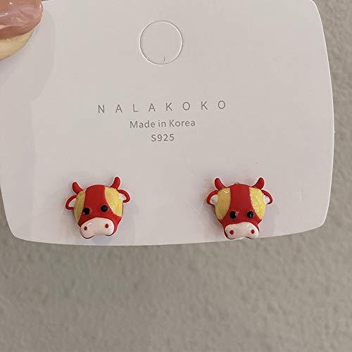 YULE Pendientes coreanos de moda de vaca manchado amor en forma de corazón de felpa temperamento otoño invierno pendientes retro joyería de moda (color metálico: rojo)