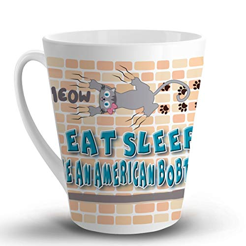 EAT Sleep Rescue an American Bobtail CAT Cat Cats - 12 Oz. Unique Latte Mug, Coffee Cup