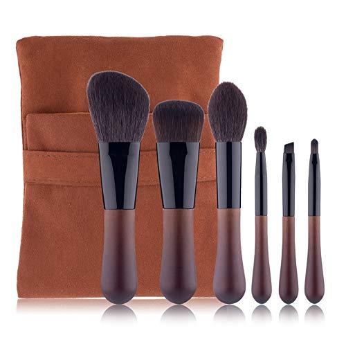 6pcs brosse de maquillage ensemble, couleur du bois droplet brosse de maquillage brosse pleine laine pinceau de maquillage professionnel