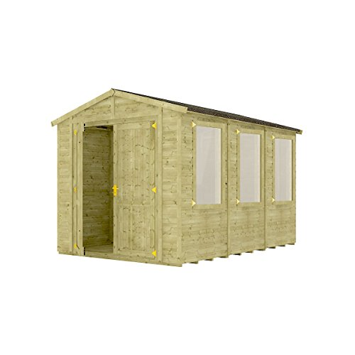 Project Timber 12 x 8 Pressure Treated Windowed Grandmaster Wooden Garden Shed Traditional Apex Gable Double Door 12FT x 8FT