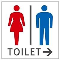 TOILET (男女) 右矢印→ ステッカー・シール 20cm×20cm