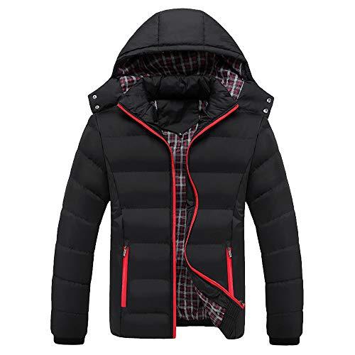 AIni Herren Jungen BeiläUfige Warme Kapuze Winter Reißverschluss Mantel Outwear Jacke Top Bluse Warm Coat Jacke Mäntel Neuheit 2019(XXXL,Schwarz)