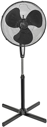 Bestron Standventilator mit Schwenkfunktion und Fernbedienung, Höhe: 122 cm, Ø 45 cm, 45 W, Schwarz