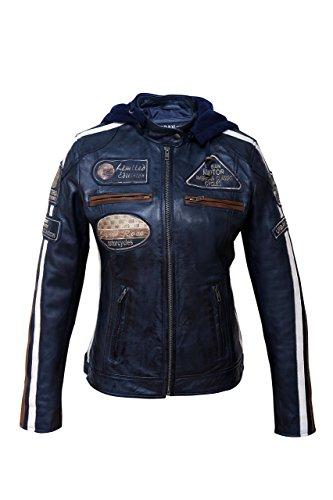 Chaqueta Moto Mujer de Cuero Urban Leather '58 LADIES' | Chaqueta Cuero Mujer | Cazadora Moto de Piel de Cordero | Armadura Removible para Espalda, Hombros y Codos Aprobada por la CE |Navy Azul | XL (Automóvil)