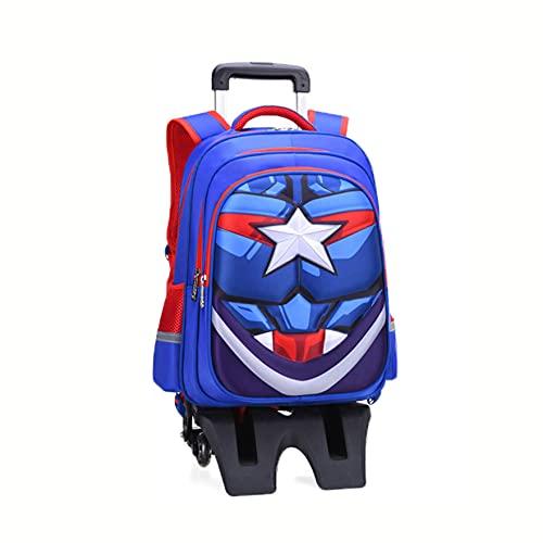 Niños Capitán América Mochila Superhéroe Trolley con ruedas Mochila impermeable barra tracción mano Mochila Unisex Adultos Niños Bolso picnic al aire libre ,Captain America-Tall feet Six wheels