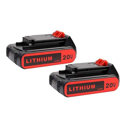 2Pack 3000mAh LBXR20 Replacement Battery for Black and Decker 20V Lithium Battery MAX LB20 LBX20 LBXR2020 LBX4020 LB2X4020-OPE LBXR20-OPE Batteries