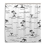 JOOCAR Cortina de ducha de diseño, diseño de isla tropical, palmera, cola de ballena, color blanco, tela impermeable, juego de decoración de baño con ganchos