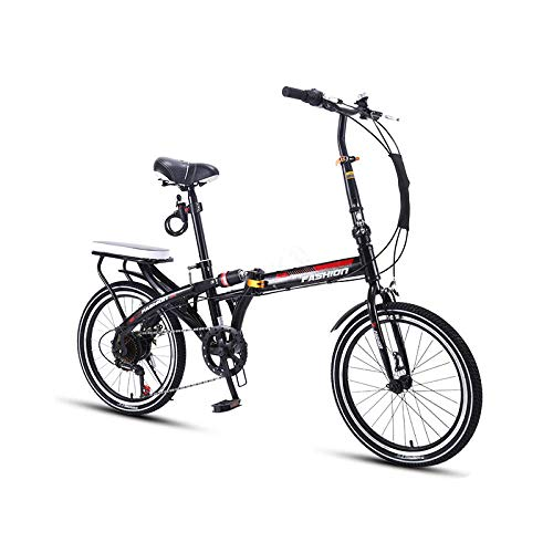 Bicicleta Plegable de 16/20 Pulgadas, pequeña, Ultraligera, portátil, de Velocidad Variable, absorción de Impactos, Bicicleta para Adultos, Color Negro, 16 Pulgadas, Velocidad única