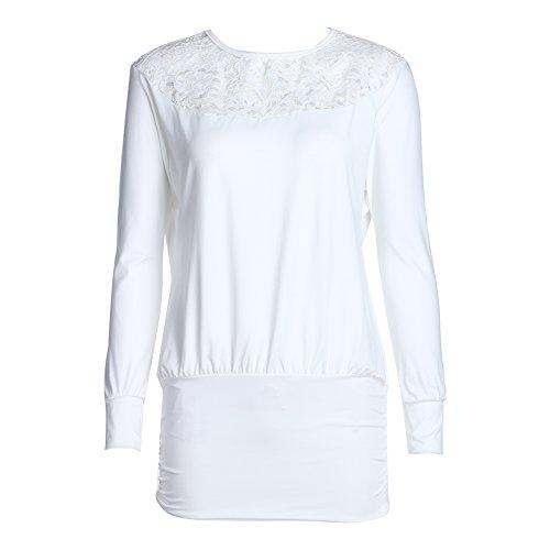 Blusas femininas de manga comprida com fenda de renda sexy da Diamondo (brancas, GG)