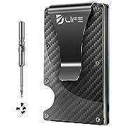 Dlife Carbon Fiber Men Mini Wallet Money Clip Screw Fixation Elastic Band Credit Card Holder RFID Blocking Wallet (Carbon 1)