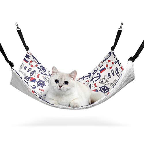 ComSaf XL Hängematte für Gross Katzen mit verstellbaren Riemen und Metallhaken 56 x 48cm, Baumwolle und Stoff für Sommer & Winter, Haustierwaage und Schlafplatz für Katzen und Andere Kleintiere