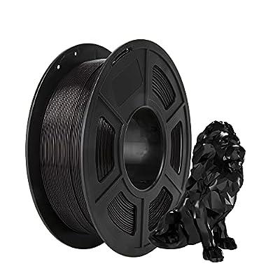 PLA Filament, PRINSFIL Filament PLA 1.75 mm, 3D Printing Materials for 3D Printer, 1 kg 1 Spool, Jet Black