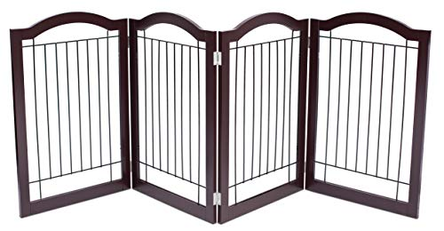Internet's Best Wire Dog Gate with Arched Top - 4 Panel - 30 Inch Tall Pet Puppy Safety Fence - Fully Assembled - Durable Wooden - Folding Z Shape Indoor Doorway Hall Stairs Free Standing - Espresso