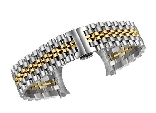 de Acero Inoxidable de 22 mm reemplazos Correa de Reloj vínculo sólido de Alto Grado de los Hombres en Dos de Plata y Oro Tono