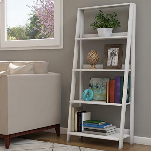 Lavish Home 4 Shelf Ladder Bookshelf, White