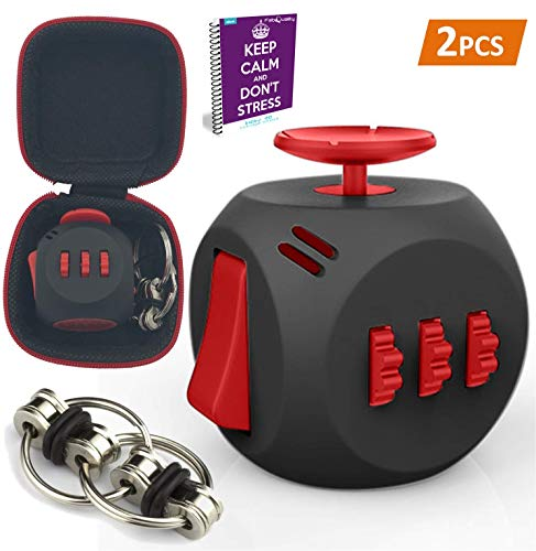 fabquality Fidget Cube DICE 6 Sides Fidget Toys Cube Relieves Stress and Anxiety Cube for Children and Adults+ + Steel Flipping Chain + Gift Case Box with ADHD ADD OCD Autism