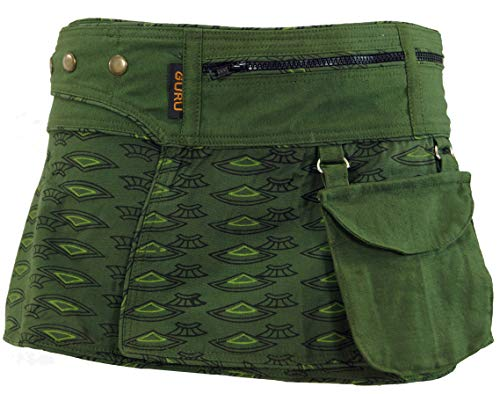 Guru-Shop Wickelrock, Cacheur, Sidebag, Damen, Olive, Baumwolle, Size:L/XL (42), Röcke/Kurz Alternative Bekleidung