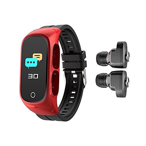 Pulsera Inteligente, Auriculares Adicionalesactivity Trackers Reloj De Ejercicios De Salud con Ritmo Cardíaco Y Monitor De Sueño, Banda Inteligente En El Contador De Calorías,Rojo