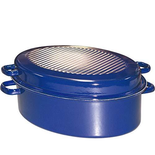 Riess, 0442-012, Gänsebräter oval mit Deckel, CLASSIC - SPEZIALARTIKEL, Durchmesser (lange Seite) 42 cm, Höhe 18,5 cm, Inhalt 9,0 Liter, Emaille, außen blau, innen schwarz