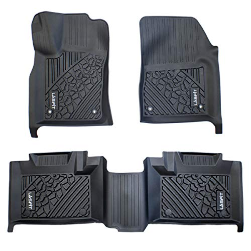 LASFIT Floor Mats Compatible for 2013-2015 Jeep Grand Cherokee / 2013-2015 Dodge Durango (2nd Row Bench Seating Only), TPE All Weather 1st & 2nd Row Floor Liners, Black