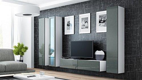 Wohnwand ' Vigo 15' Hochglanz Hängeschrank Lowboard Cube , Farbe:Weiß . Grau