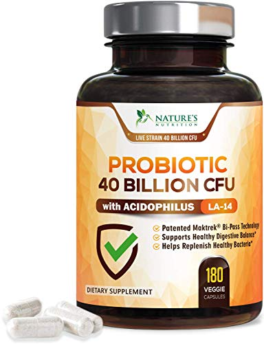 Probiotic 40 Billion Cfu - 15x More Effective with Targeted Release, Lactobacillus Acidophilus Probiotics, Made in USA, Non-GMO, for Women & Men, Immune Support and Digestive Health - 180 Capsules