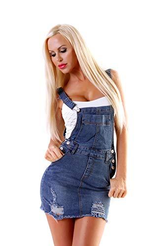 Fashion4Young 5002 Damen Jeans Latzrock Jeansrock Minirock Trägern Rock Jeans Denim blau Jeansskirt (blau, S-36)