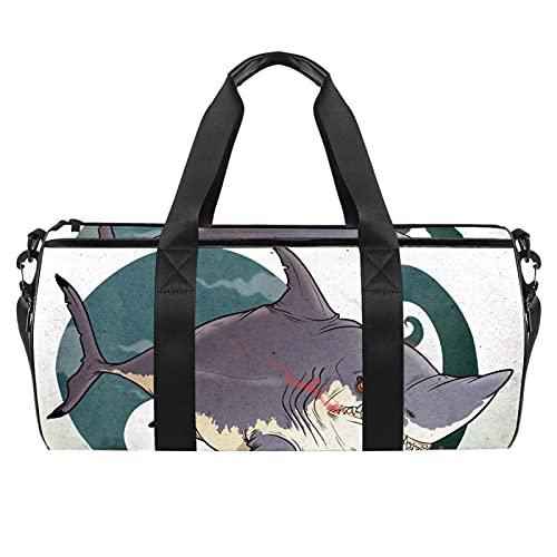 Duffle Bag Palestra per gli Uomini Viaggio Sport Bag Outdoor Piccolo Duffel Bag Big Shark Attacco La Nave, Disegno di squalo, 45x23x23cm/17.7x9x9in,
