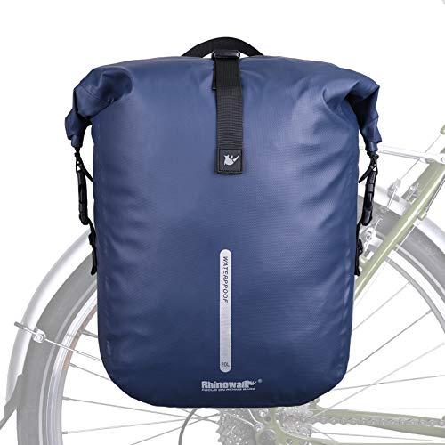 Rhinowalk Fahrradtasche für Gepäckträger 3in1 Fahrrad Rucksack I Gepäckträgertasche I Umhängetasche - Fahrrad Tasche mit wasserdicht Bezug und reflektierendem Gurt (Blau)
