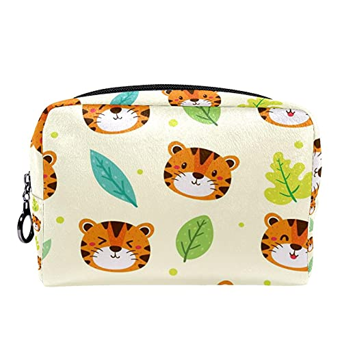 Tiger and Leaves 18,5 x 7,6 x 13 cm bolsa de aseo organizador bolsa de aseo bolsa de lavado bolsa de maquillaje, bolsa de viaje cosméticos bolsa de cepillo