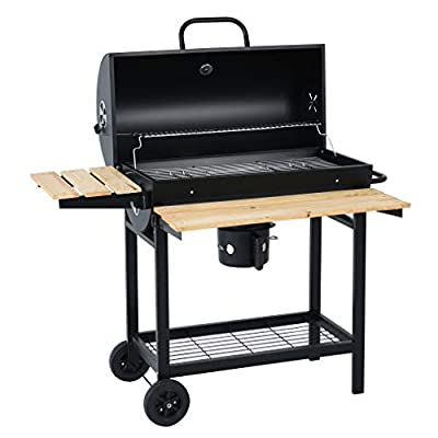Heavy Duty 613 Square Inches Charcoal Grill, Outdoor BBQ Grill with Foldable Wooden Shelf, Black