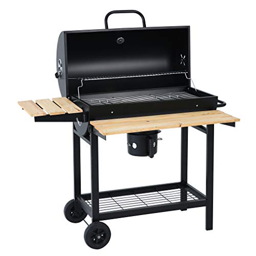 Heavy Duty 613 Square Inches Charcoal Grill Outdoor BBQ Grill with Foldable Wooden Shelf Black
