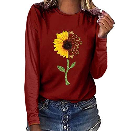 WARMWORD Mujer Tops Elegantes Blusas para Mujer Cómodas Mangas largas Blusas para Mujer Otoño Mujer Moda Talla Extra Estampado de Girasol Cuello Redondo Manga Larga Camiseta Blusa Tops