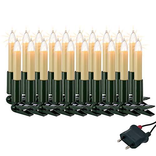 Hellum Lichterkette innen / 20 Glühfaden warm-weiß Schaftkerzen/Länge 13,3 m + 2x1,5 m Zuleitung, schwarzes Gummi-Kabel/Fassungsabstand 70 cm/teilbarer Stecker/Weihnachten / 802009