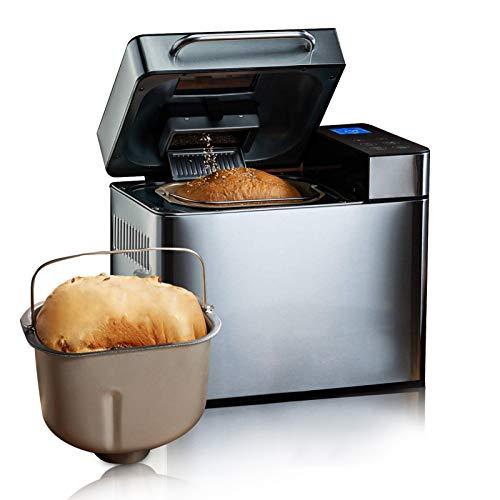 Meykey Brotbackautomat Backmeister Brotbackmaschine mit 19 Programme für 500g-1000g Brotgewicht, 15 Stunden Timing-Funktion, Warmhaltefunktion, Sichtfenster und LED Bildschirm (900W)