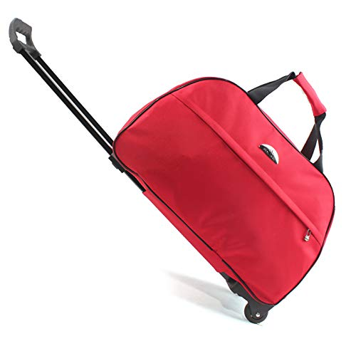 ZHD&CC Lightweight Large Roller Bag Holdall with Wheels,Durable Stress Tested Skate Wheels 7L Capacity Trolley & Grab Carry Options Travel Wheeled Duffle Bag,Red