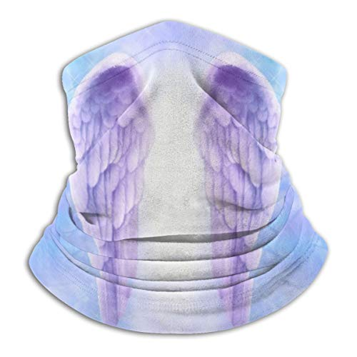 Calentador de Cuello de Microfibra Unisex Hermoso Par de Alas de Ángel Lila Pasamontañas Headwear Bufanda para Polvo Protección Solar Contra el Viento
