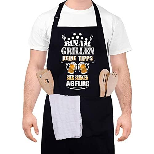 upain Grillschürze für Männer Lustig -Bin am Grillen! Keine Tipps! Bier bringen! ABFLUG-Schürze Kochschürze Verstellbarem Baumwoll Küchenschürze Zwei Fronttaschen als Geschenkidee für Herren Papa Opa