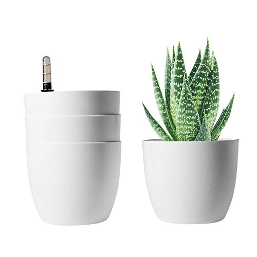 T4U 15CM Self Watering Plastic Planter with Water Level Indicator Pack of 4 - White, Modern Decorative Planter Pot for All House Plants, Flowers, Herbs, African Violets, Succulents