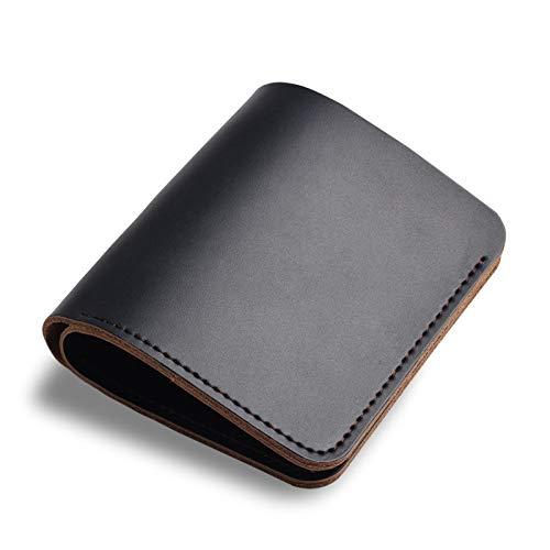 Simple Wallet Short Leather Handmade Retro Wallet Change Wallet Card Bag Business Card Holder Navy