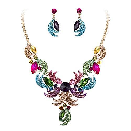 Clearine Juegos de Joyas de Mujer Cristal Lágrimas Forma Hoja Curva Encaje Collar y Pendientes para Novia Boda Fiesta Multicolor