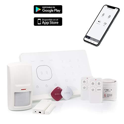 APC Sistema de Alarma M2G Inalámbrica GSM, 2 Tarjetas RFID, Servicio + Garantía, Voz APP y Manual en Castellano, 99 Zonas, pilas incluidas, 433MHz App Gratuita iOS/Android