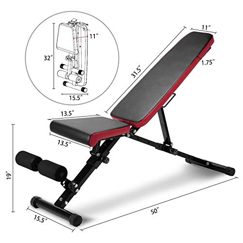 Adjustable Weight Bench 750 lbs Capacity Foldable Full Body Workout Bench with Leg Extension Exercise Fitness Bench for Bench Press Weightlifting Ab Exercise Utility Weight Bench for Home Gym