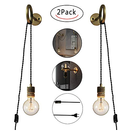 Anclk Apliques De Pared Con Interruptor Lámpara De Espejo Lámpara De Pared Antigua Con Enchufe De Cable Industrial Vintage Creativa Luz Decorativa Lámpara De Salón Dormitorio Cama Lámpara E27