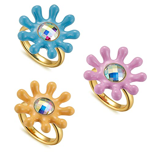 3Pcs Colorful Y2K Chunky Enamel Rings Daisy Butterfly Flower Gold Ring Set Trendy Colorful Ring Gold Plated Thick Dome Chunky Rings for Women Girls