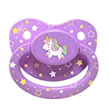 Littletude Adult Sized Pacifier Dummy for Adult Babies, Large Handle, Large Shield, Purple Unicorn
