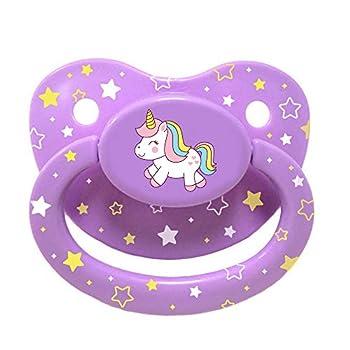 Littletude Adult Sized Pacifier Dummy for Adult Babies Large Handle Large Shield Purple Unicorn