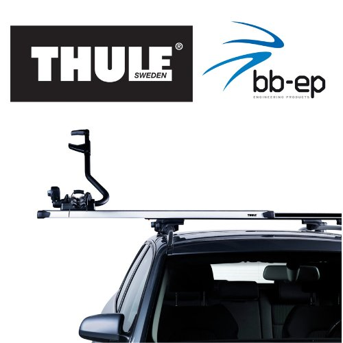 Dachträger/Lastenträger von THULE mit Innovativer SlideBar Traverse für das einfache und ergonomischer beladen mit schweren und sperrigen Lasten für SEAT Alhambra - MPV - ab Baujahr 1996 bis 2000 - - mit normale (hochstehender) Dachreling – Komplettset abschließbar inkl. Schloss und Schlüssel - kein weiteres Zubehör nötig!!! Gratis für Sie 1 Liter Scheibenwasch Konzentrat